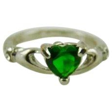 Sterling Silver Celtic Claddagh w/Heart Shaped Green Gemstone