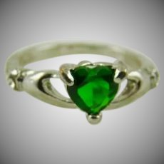 Sterling Silver Celtic Claddagh w/Heart Shaped Green Gemstone