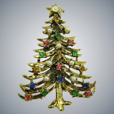 Antiqued Gold Tone Christmas Tree Brooch ~ Faux Pearls and Gemstones