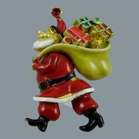 Designer Enameled Santa with Toys Brooch