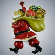 Designer Enameled Santa with Toys Brooch