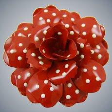 Joan Rivers Red Enamel Polka Dot Brooch