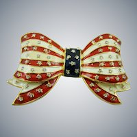 Patriotic Red, White and Blue Bow Brooch