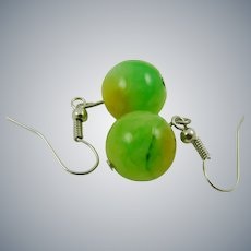 Lime Green and Yellow Glass Bead Earrings