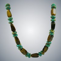 Turquoise and Tiger Eye Agate Necklace