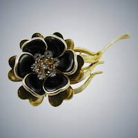 Poured Glass Brooch with Rhinestone Center