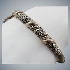Sterling and Marcasite Bangle Bracelet