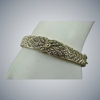 Sterling and Marcasite Bangle Bracelet for Small Wrist