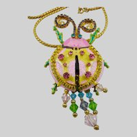Lunch At The Ritz Ladybug Brooch with Vendome Chain Necklace
