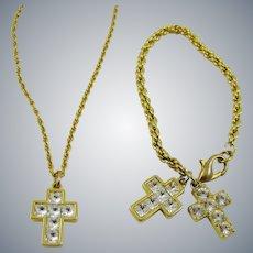 Swarovski Crystal Cross Necklace and Bracelet Set