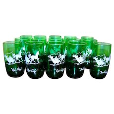 "15 Roly Poly Gay Nineties Green ""Open Sleigh"" Tumblers"