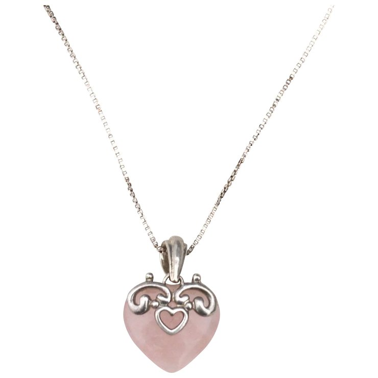 Vintage hallmarked sterling silver italy rose quartz heart pendant vintage hallmarked sterling silver italy rose quartz heart pendant necklace red tag sale item aloadofball Choice Image