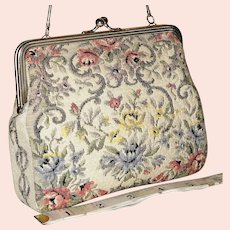 Vintage 1950's Tapestry Floral Evening Bag from West Germany