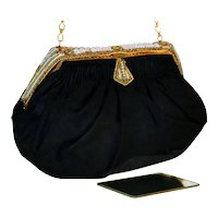 Vintage Evening Bag with Beads and Champlevé Enameling from France