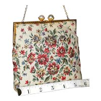 1950's Walborg Floral Micro Petit-Point Evening Bag from France