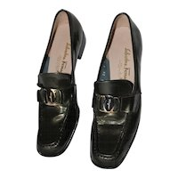 "Vintage Salvatore Ferragamo ""Vara"" Loafers Size 8.A in Genuine Charcoal Patent Leather"