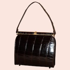 Vintage 1950's Sterling Alligator Kelly Satchel