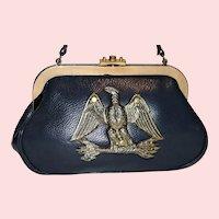 Vintage 1950's Roger Van S. Blue Pebbled Leather Satchel