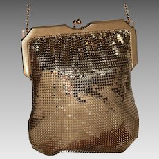 Vintage Whiting and Davis Gold Mesh Flapper with Rhinestones
