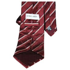 Giorgio Armani Burgundy Cross Patterned Stripe Tie from Italy