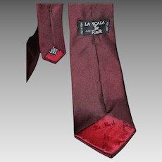 La Scala Burgundy Silk Skinny Tie from Italy