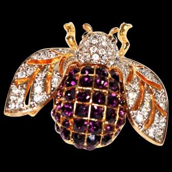 Vintage Bee Brooch with Swarovski Crystals