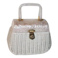 1950's Walborg Wicker Lucite Box Evening Bag