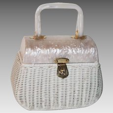 1950's Walborg Wicker Lucite Box Evening Bag