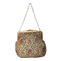 1960's Walborg Needlepoint Beaded Evening Bag