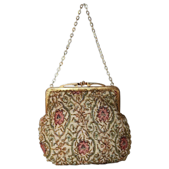 1960's Walborg Needlepoint Beaded Evening Bag