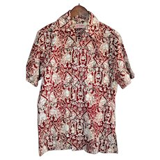 Vintage Genuine Batik Men's Short-Sleeved Shirt Size Med-Large from Indonesia
