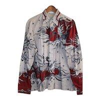 Vintage Genuine Batik Men's Shirt Size Med/Large from Sumatra, Indonesia
