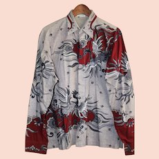Vintage Genuine Batik Men's Shirt Size Med/Large from Sumatra, Indonesia