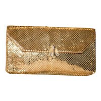 Vintage Whiting and Davis Gold Mesh Envelope Clutch with Rhinestones