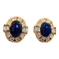 Vintage Christian Dior Lapis Blue Cabochon Clip-on Earrings