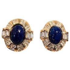 Vintage Christian Dior Lapis Blue Cabochon Clip-on Earrings