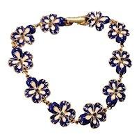 Joan Rivers Cobalt Pansy Bracelet