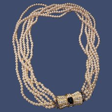 Vintage Faux-Pearl Necklace with Rhinestones