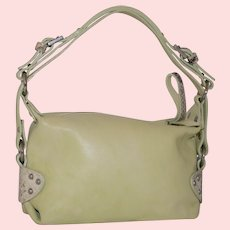 Vintage Giudit Key Lime Top Zip Pouchette from Italy