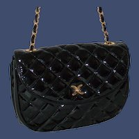 Vintage Diana Vicenza Quilted Patent Satchel from Italy