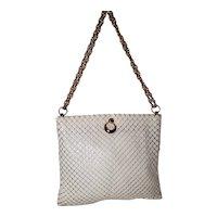 Vintage Whiting & Davis White Mesh Hinged Handbag
