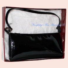 Vintage Salvatore Ferragamo Nero Patent Calf Evening Bag from Italy