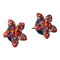Vintage Enameled Pansy Post Earrings