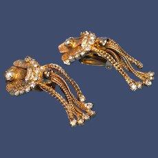 Vintage Five-Strand Dangle Clip-on Earrings