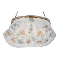 Vintage Walborg Puffy Beaded Evening Bag From France