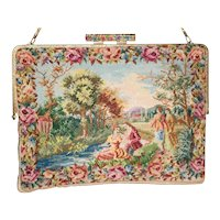 1950's Walborg Floral Figural Petit-Point Evening Bag from France