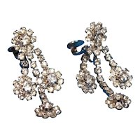 1960s Three Strand Crystal Dangle Earrings