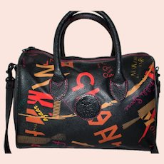 1980s Carlos Falchi Canvas Graffiti Speedy Satchel
