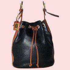 Vintage Oroton Pebbled Leather Drawstring Tote from Italy