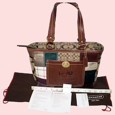 Vintage Coach Holiday Patchwork Gallery Tote